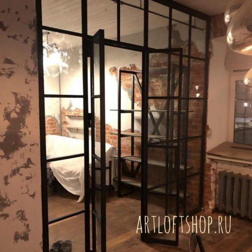 Лофт перегородки из стекла и металла