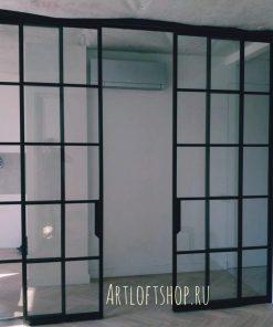 Перегородка лофт с откатными дверьми
