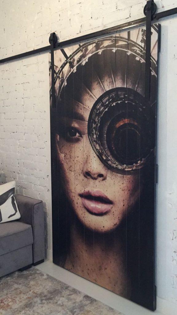 амбарная дверь с картиной