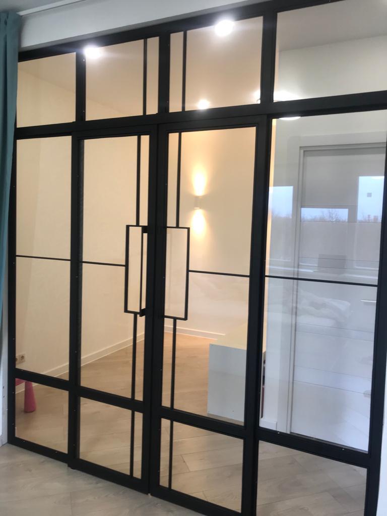 лофт перегородки - сталь и стекло